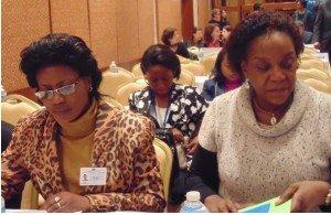 la ministre du genre  Bijou Kat et la Représentante personnelle du Chef de l'Etat à la Francophonie, Isabel Tshombe